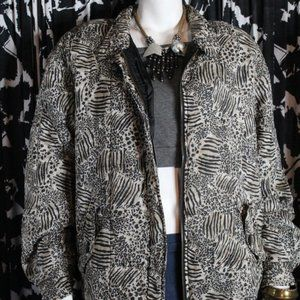 Anna and Frank Silk Animal Print Bomber Jacket S